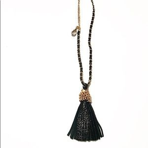 Leather + Crystals Necklace